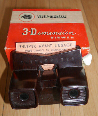 VIEWMASTER VIEWER ORIGINAL MODEL E BAKELITE BOXED RARE VINTAGE 1950's TOY  (818)