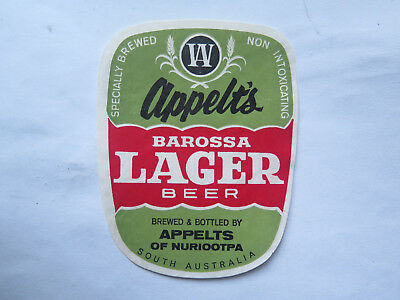 APPELTS BAROSSA LAGER BEER LABEL c1960 NON INTOXICATING by APPELTS NURIOOTPA SA