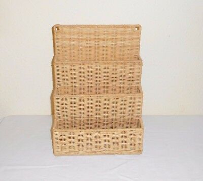 4 Section Cane Wicker Letter  Rack  Wall Mounted Or Free Standing