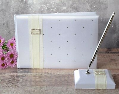 White Wedding guest Book with Ivory Ribbon & Diamante Buckle - FREE PEN & STAND
