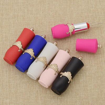 DIY Lipstick Shaped With Flower Needles Pin Cushion Container Beauty Multi-Color