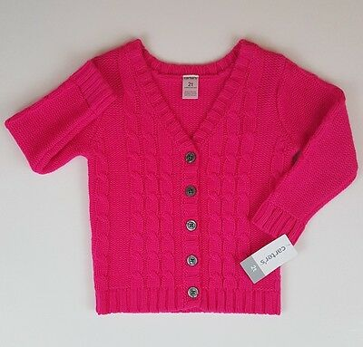 Carter's Little Girls' Neon V-Neck Cardigan Sweater Pink 2T