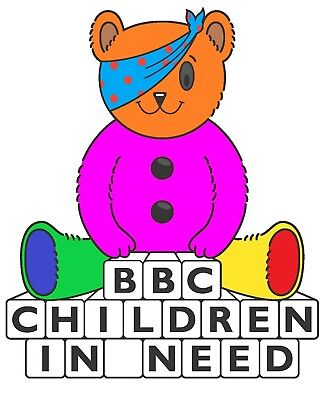 T shirt iron on transfers,A5 pudsey bear/ children in need  any colour you like