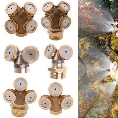 UK 1-5pcs 2-4 Holes Brass Spray Misting Nozzle Sprinklers Hose Water Connector