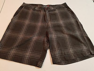 Mens Quiksilver Grey Checked Shorts, Size 34