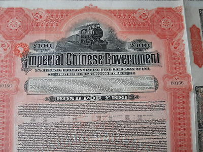 IMPERIAL CHINESE GOVERNMENT HUKUANG RAILWAYS GOLD £100 BOND 1911 with coupons