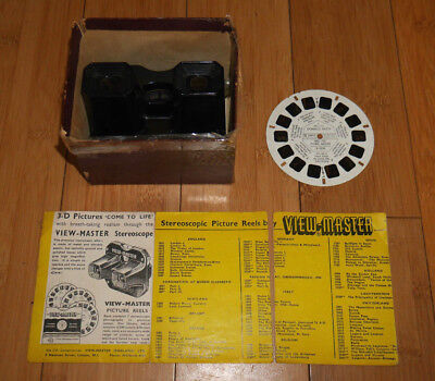 VIEWMASTER VIEWER 1950's SAWYER'S MODEL C RARE & DONALD DUCK REEL BOXED (960)