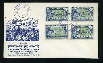 1957 Pitcairn Island illustrated cover with 3d  four singles