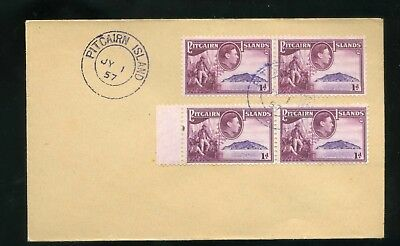 1957 Pitcairn Island  cover with 1d two horizontal pairs