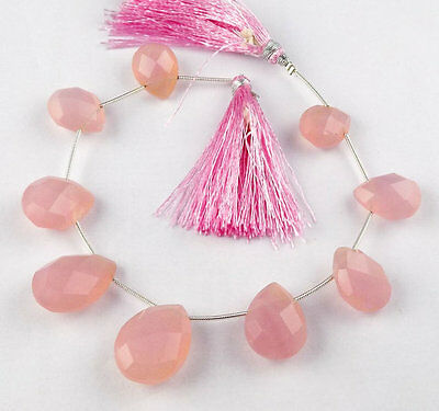 "1 Strand Natural Rose Pink Quartz Pear 12x15-16x21mm Briolette Beads 8"" Long"