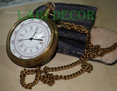 Antique Brass Watch Pocket W Leather Case Vintage Nautical Collectible Steampunk