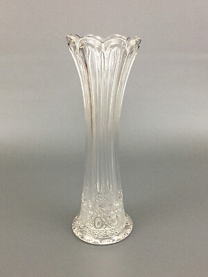 Antique Higbee Glass Co. clear pressed glass trumpet vase 1900 - 1910
