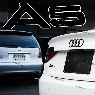 New Audi A5 Logo Rear Black Badge Wing Glossy Emblem Wing Sticker