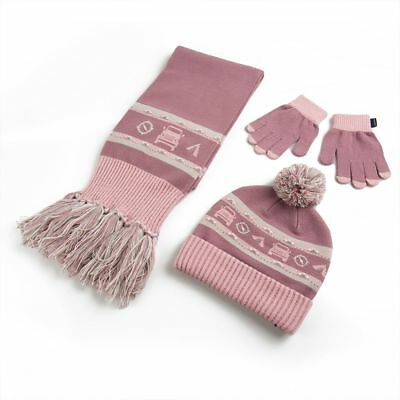 Girls Land Rover Hat, Scarf and Glove Set - Purple & Pink