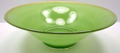 Vintage Antique Art Deco Hand Painted Green Gold Trim Footed Glass Console Bowl