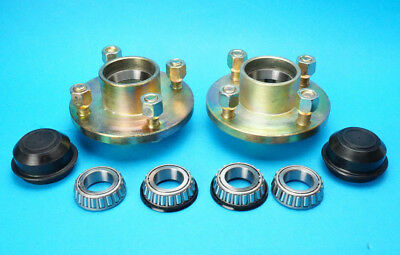 "Pair of Trailer Cast Wheel Hubs 100mm PCD 4 Stud 1"" & Taper Bearings Dust Caps"