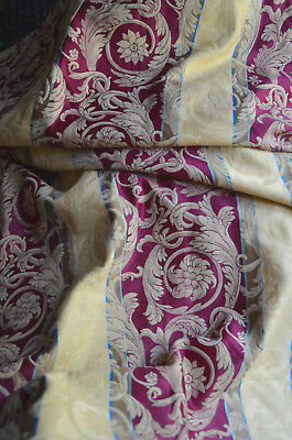Vintage French satin damask weave curtain, gold burgundy acanthus, 3.19 yds wide