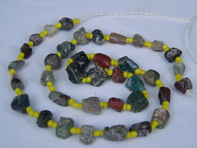 "Ancient Roman Glass Fragments Beads Strand C.200 Bc  """"k731"""""
