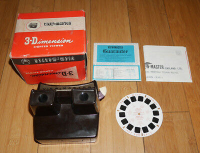SAWYER'S VIEWMASTER LIGHTED VIEWER VINTAGE 1950's MODEL F RARE & BOXED    (963)