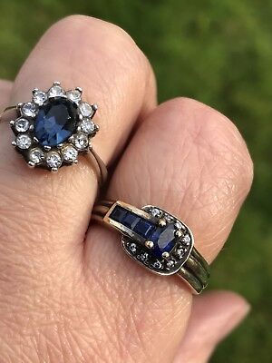 Antique Vintage Sterling Silver Faux Sapphire,star And Buckle Rings