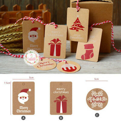 50Pcs Christmas Kraft Hang Paper Gift Tags Scallop Label Luggage Blank + Strings