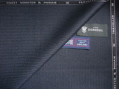 "DORMEUIL 95%WOOL &5%MOHAIR""Dk.Navy""SUITING FABRIC<TRAVELLER>MADE IN ENGLAND-3.4m"