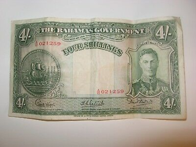 Bahamas Government Four Shillings George Vi Bank Note