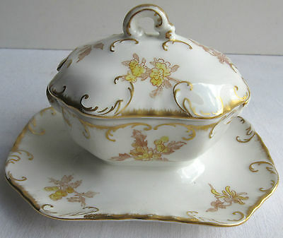 SUBLIME Moutardier en porcelaine de Limoges, doré or fin, style Louis XV