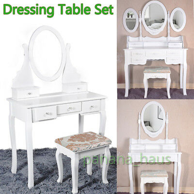 White Dressing Table Vanity Makeup Desk with 4 5 7 Drawers Oval Mirror and Stool