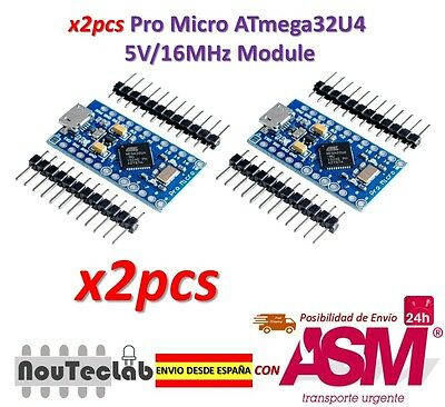 2pcs Pro Micro ATmega32U4 5V/16MHz Module with Pin Header for Arduino Leonardo