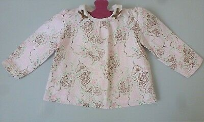 Baby Dior***Superbe Blouse/chemisier 6 mois /67 cm rose col et noeuds