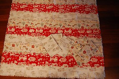Large baby blanket and 6 Burp Cloths-Handmade NEW Farm Animal Thick material