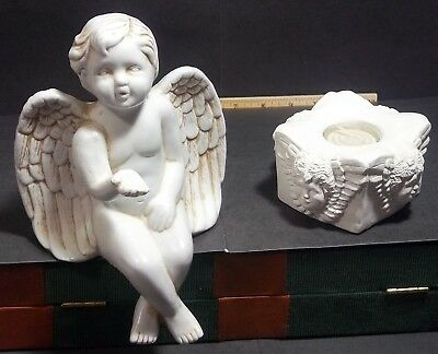 Mantel Angel and Tealight Candle Holder Set
