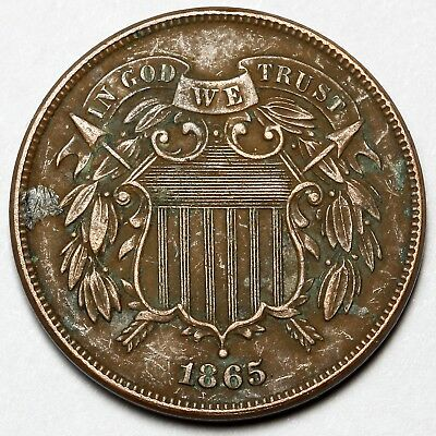 1865 United States Bronze 2 Two Cents Coin
