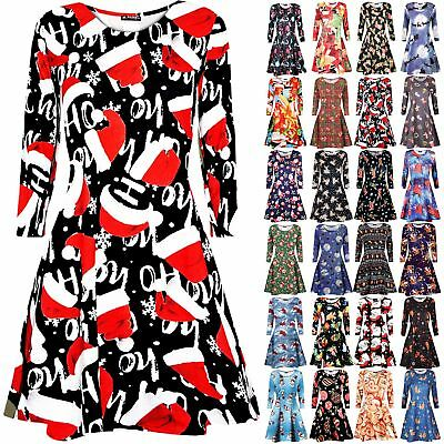 Womens Ladies Christmas Xmas Santa Reindeer Snowman Scarf Flare Swing Mini Dress