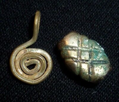 Lot of 2VIKING Ancient Artifacts SILVER Spiral Amulet & Besd Circa 700-900 AD