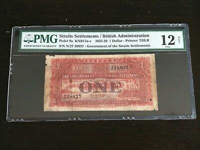 1929 Singapore Government Of The Straits Settlements $1 Pmg 12 Fine
