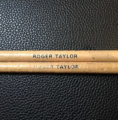 QUEEN - ROGER TAYLOR - VINTAGE 1970's STAGE USED CUSTOM TOUR DRUMSTICKS