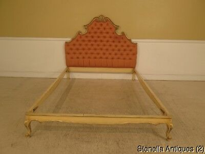 F42121: Queen Size Venetian Paint Decorated Tufted Bed