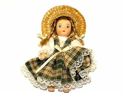 Miniture Hand craft ceramic 4 inch doll with beautiful dress and straw hat