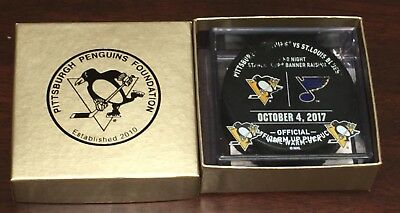Pittsburgh Penguins Stanley Cup OPENER Game Used Warm-Up Puck Mario Lemieux 10/4