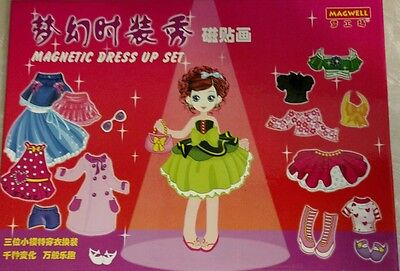 Magwell Japanese Magnetic Dress Up Set Dream Gallery Set with Dolls and Outfits