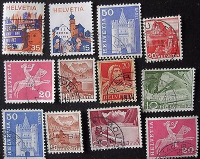 12  Swiss Stamps   From Old Album