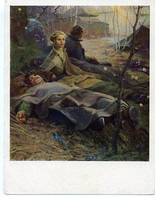 """1965 WW2 """" A Breath of Spring"""" Tank Military Russian Unposted postcard"""