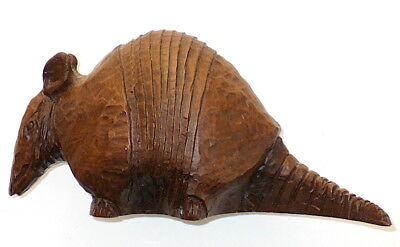 "A Vintage Hand Carved Dark Wood (5 1/2"" x 3"" x 2 1/2"") Armadillo"