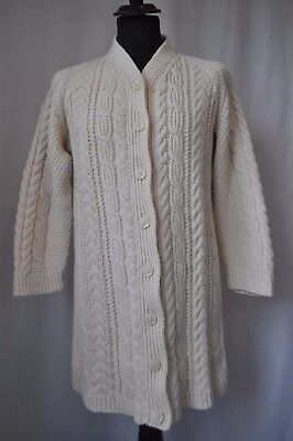 Vintage cream hand Knitted long wool cardigan size medium 12-14