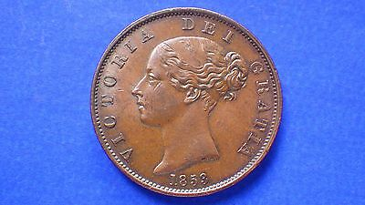 Trace lustred Queen Victoria 1853 half penny EF - jwhitt60 coins