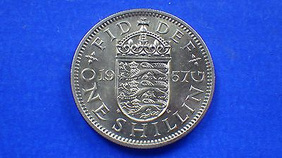 A choice-uncirculated Elizabeth II 1957 English shilling - jwhitt60