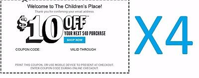 (4X) Children's Place $10 Off $40 C0UPONS *EXP 11/19**DELIVERED WITHIN 1 HOUR**