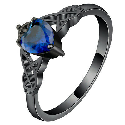Celtic Knot Trinity Black Gold Plated Ring With Blue Cubic Zirconia Heart